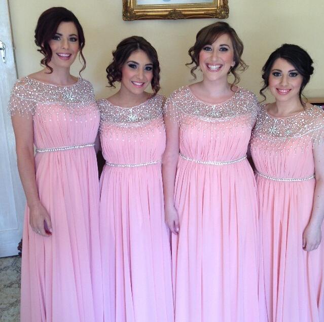 H349 Beads Cap Sleeves Long Pink Chiffon Bridesmaid Dresspink Plus