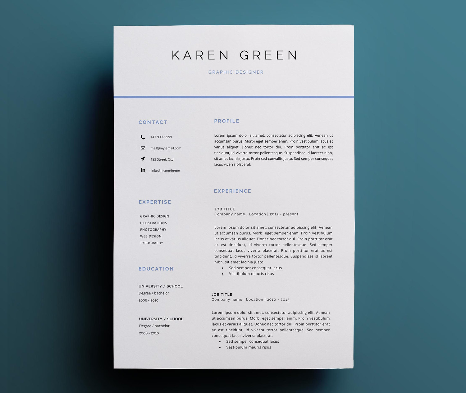 Modern Resume Template Cover Letter Icon Set For Microsoft Word Two Page Resume Professional Cv Instant Download Sold By Resumee
