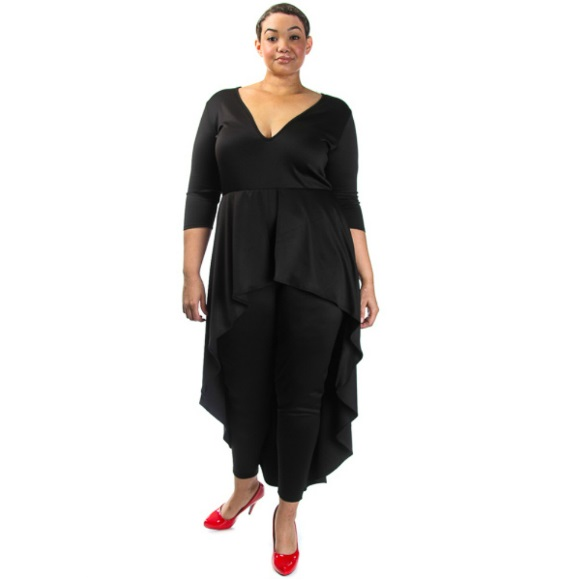 03a349e535fd Plus Size 3 4 Sleeve High Low Peplum Jumpsuit Black on Storenvy