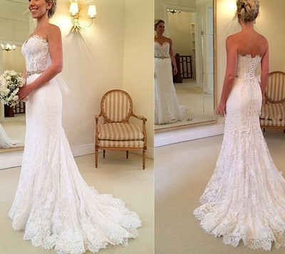 Gorgeous New Arrival A Line Wedding Dressesstrapless Wedding Dresseslace Wedding Dressessexy Backless Wedding Dresses Sold By Romantic Dress