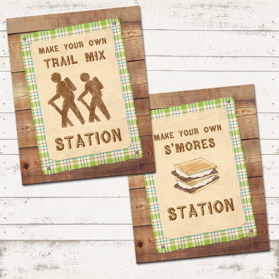 graphic regarding Printable Camping Signs referred to as Tenting Birthday Celebration Pack - Camp-Out Celebration - Custom made, Printable - Rustic, Vegetables Browns bought through Valerie Pullam Models