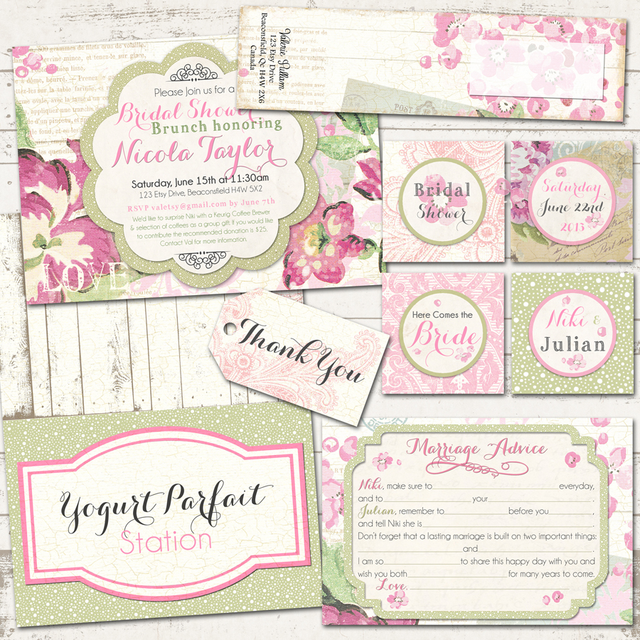 Bridal Shower Shabby Chic Party Pack Vintage Inspired Paris Pinks Custom Printable