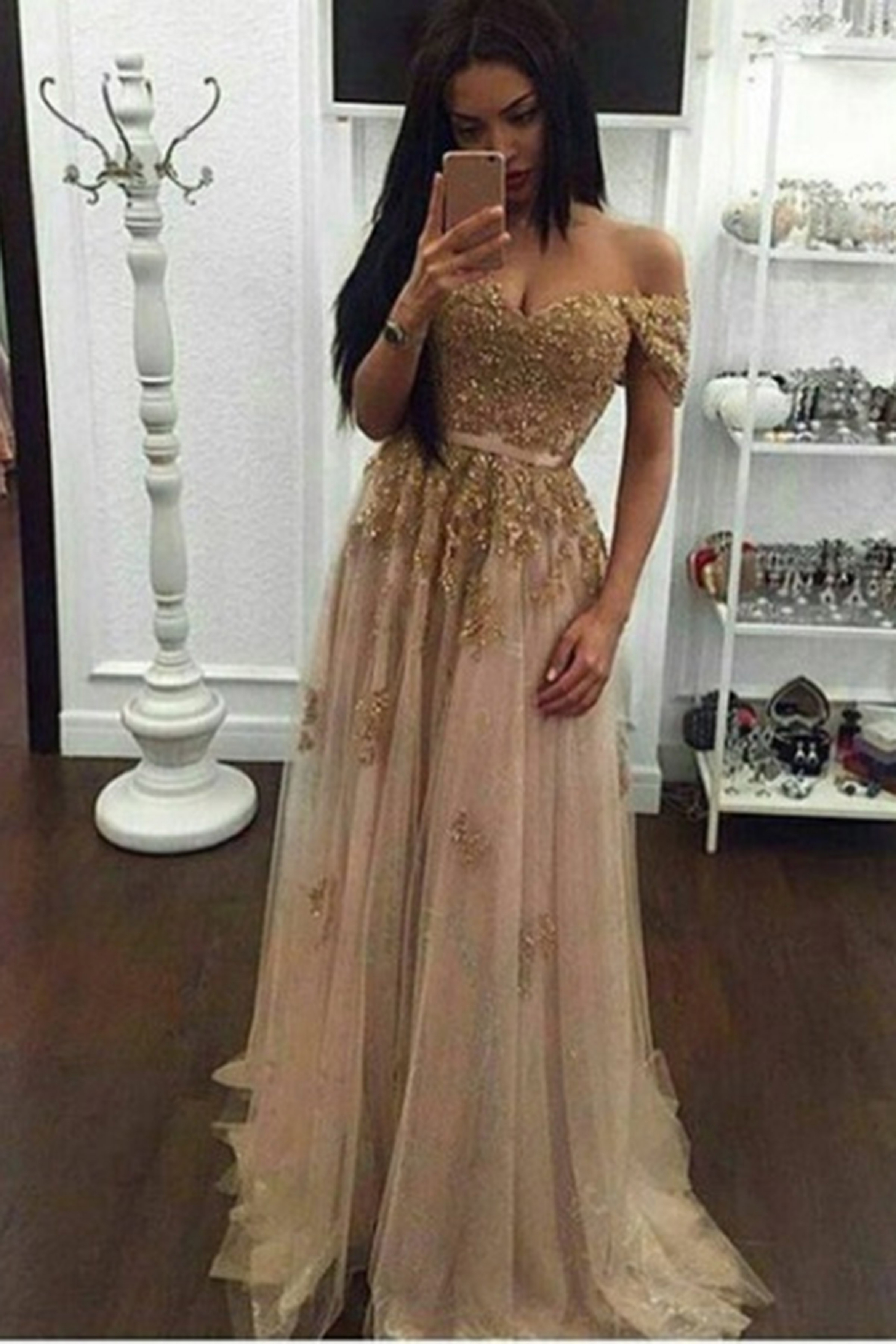 c3804ec8fee Light gold tulle sequins qpplique off-shoulder floor-length long ...