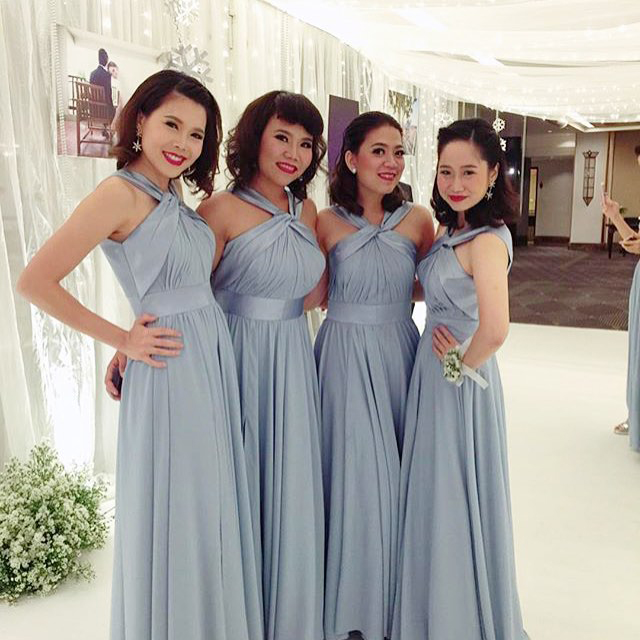 Long Grey Bridesmaid Dress