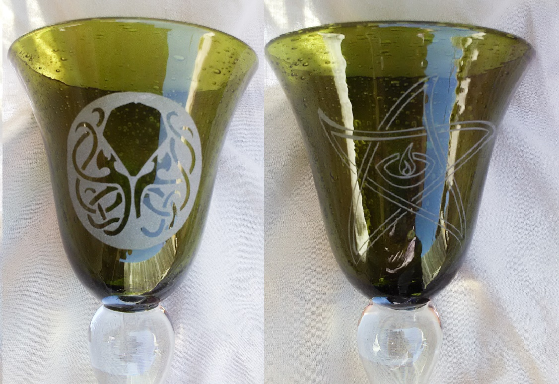 Cthulhu Seal And Elder Sign On Green Wine Glass Ooak