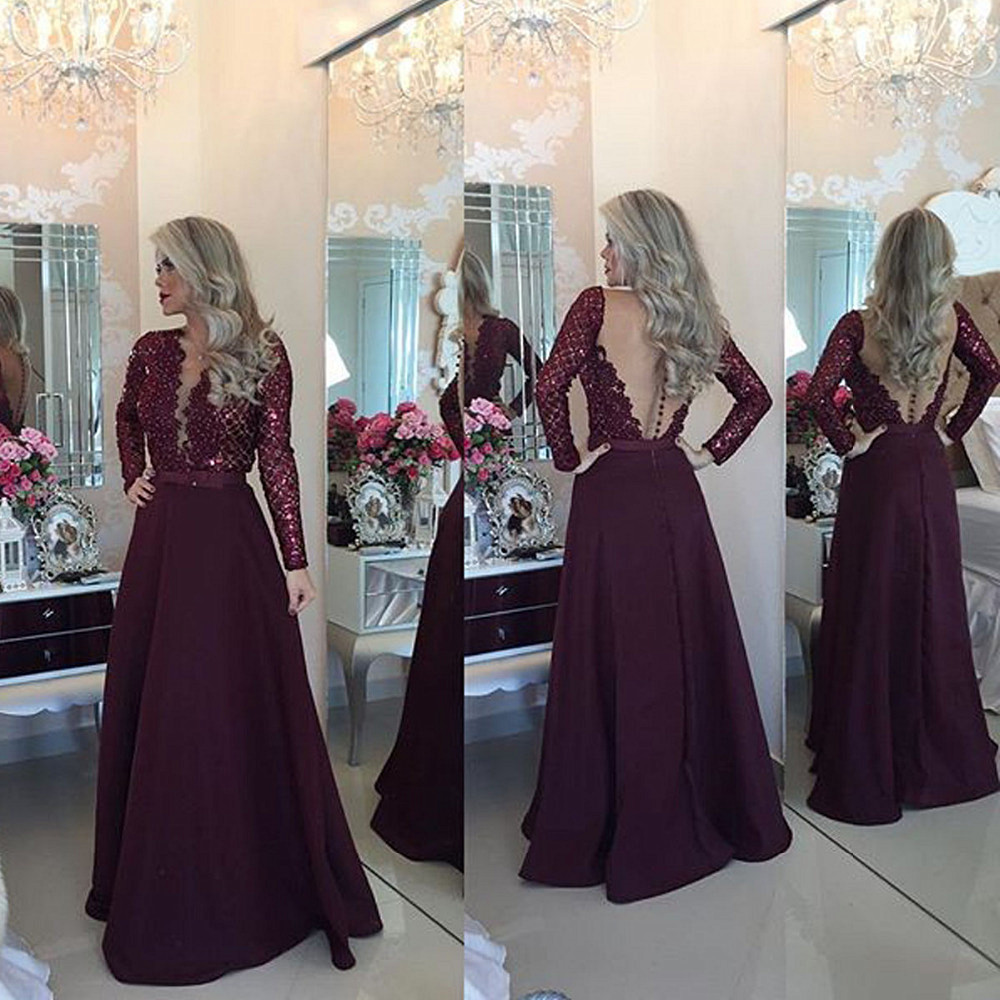 Long Sleeve Maroon Lace Prom Dresses