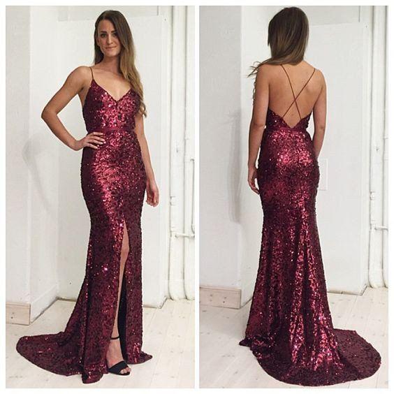 Burgundy Sequin Side Slit Sexy Cheap Long Prom Dresses Women Formal