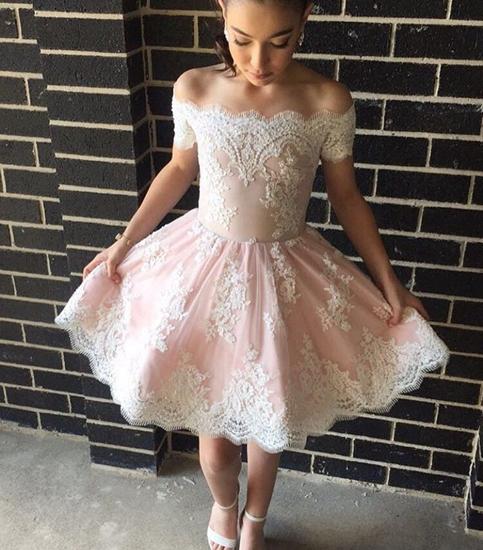 Xp151 Pink Lace Off Shoulder Short Prom Dresspink
