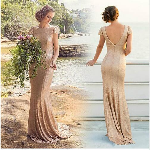 cb05febb73 Sparkling Rose Gold Sequins Bridesmaid Dresses Honor Of Brimaid Gowns  Mermaid Cap Sleeve Backless Long Gown
