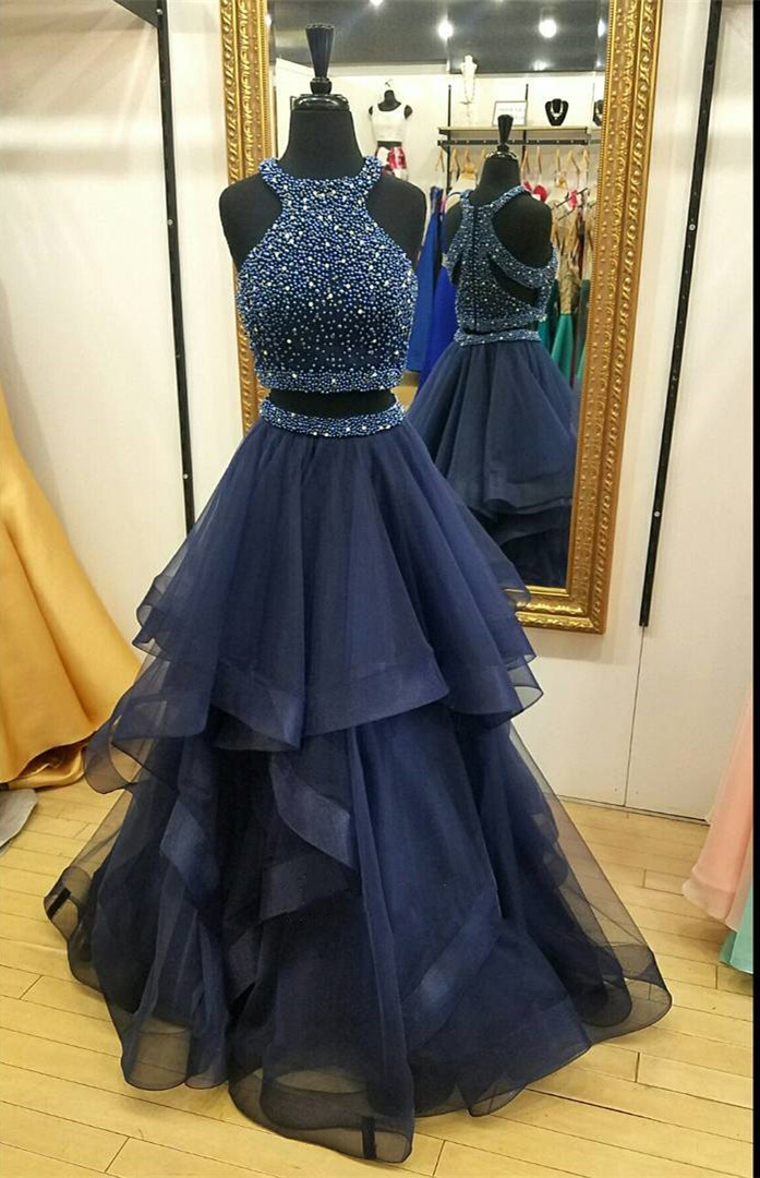 Charming Navy Blue Prom Dress,Two Piece Prom