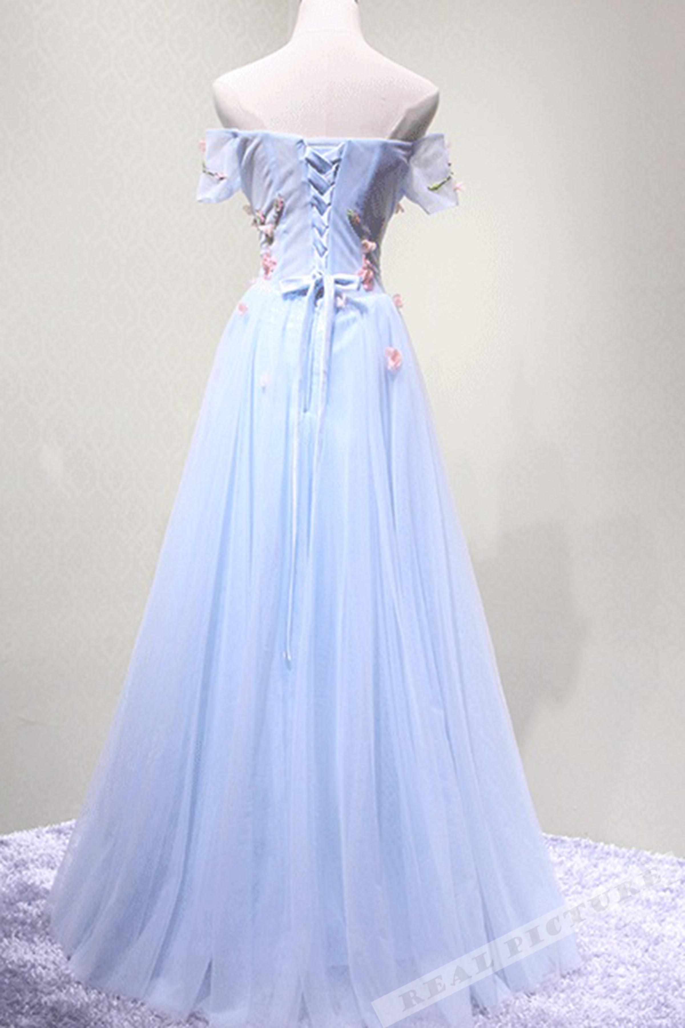 Light Blue Chiffon Flowers Applique Off Shoulder Long Prom Dress