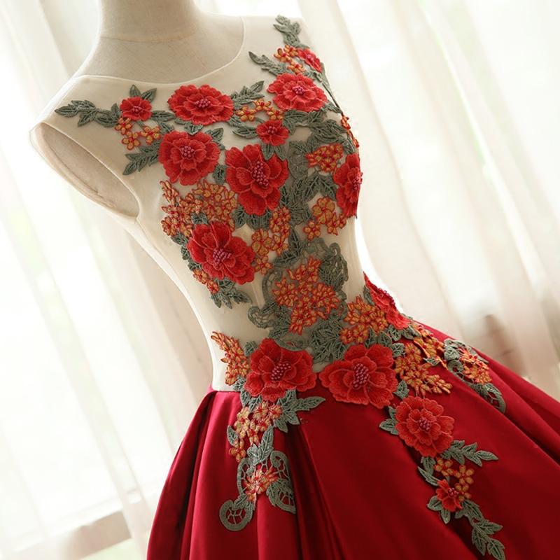Amazing Handmade Embroidery Long Prom Dress Homecoming