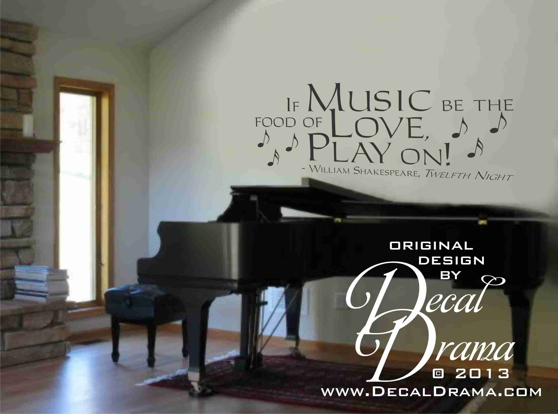 If MUSIC Be The Food Of LOVE, Play On, William Shakespeare, Twelfth Night  Quote   Vinyl Wall Decal On Storenvy