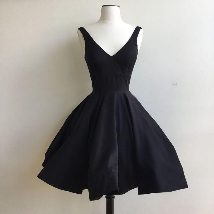 Cute A Line Short Black Party Dress Knee Length On Storenvy