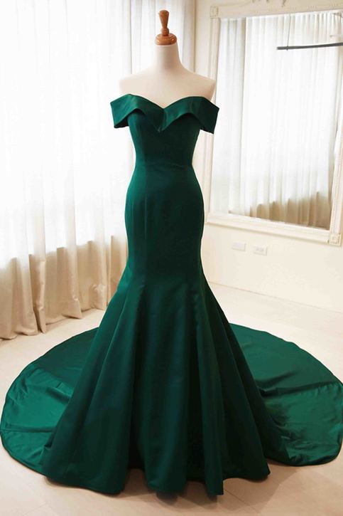 Green Satins Off Shoulder Simple Mermaid Long Prom Dress