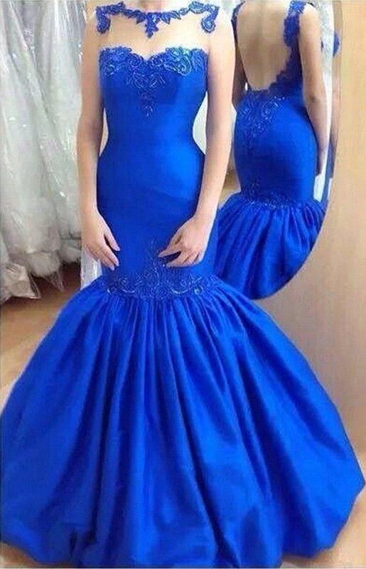 Charming Mermaid Prom Dress Royal Blue Bateau Floor Length With