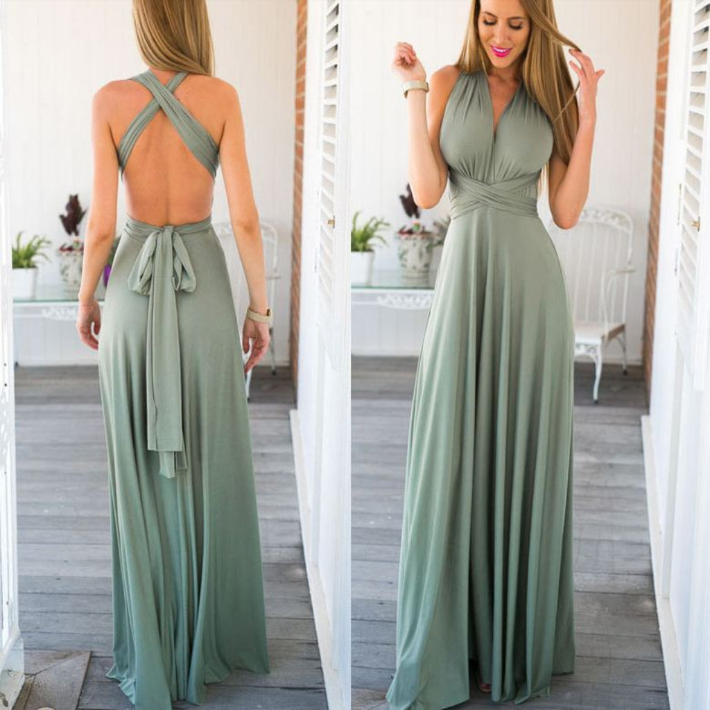 10ad2014aba AM269 Stylish Open Back Green Long Prom Dress Bridesmaid Dress ...