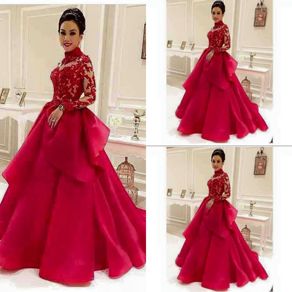 21fe383a8ee9e High-Neck Red See-Through Long-Sleeve Lace Evening-Dresses Dubai Style  Muslim Formal Evening Dress,MB 372
