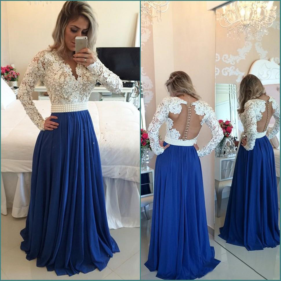 4e815bea30 Ivory Lace Bodice Royal Blue Chiffon Skirt Prom Dresses with Long  Sleeves,285