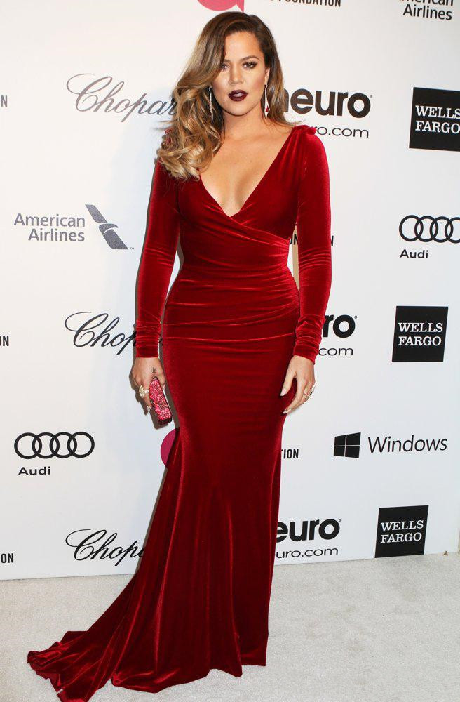 Inspired By Khloe Kardashian Plus Size Formal Prom Dress V Neck Fitted Burgundy Wine Red Velvet
