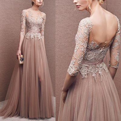 Elegant prom dress, long prom dress, lace prom dress, long sleeve ...