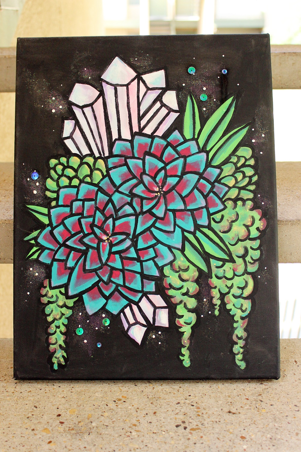 Succulent Crystal Garden Painting American Sweetheart Designs Online Store Powered By Storenvy