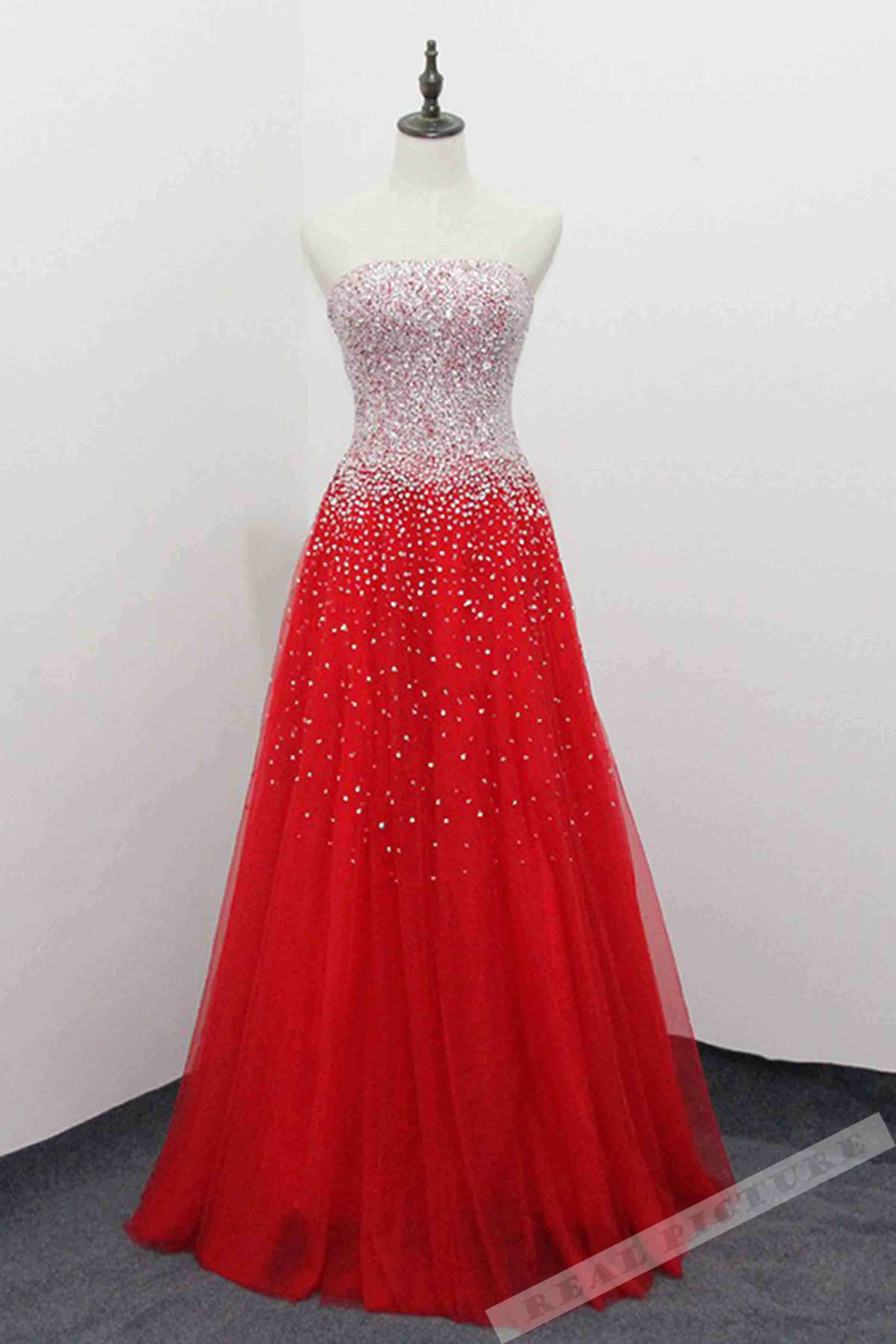 Red tulle sequins handmade sweetheart A-line long prom dres ...
