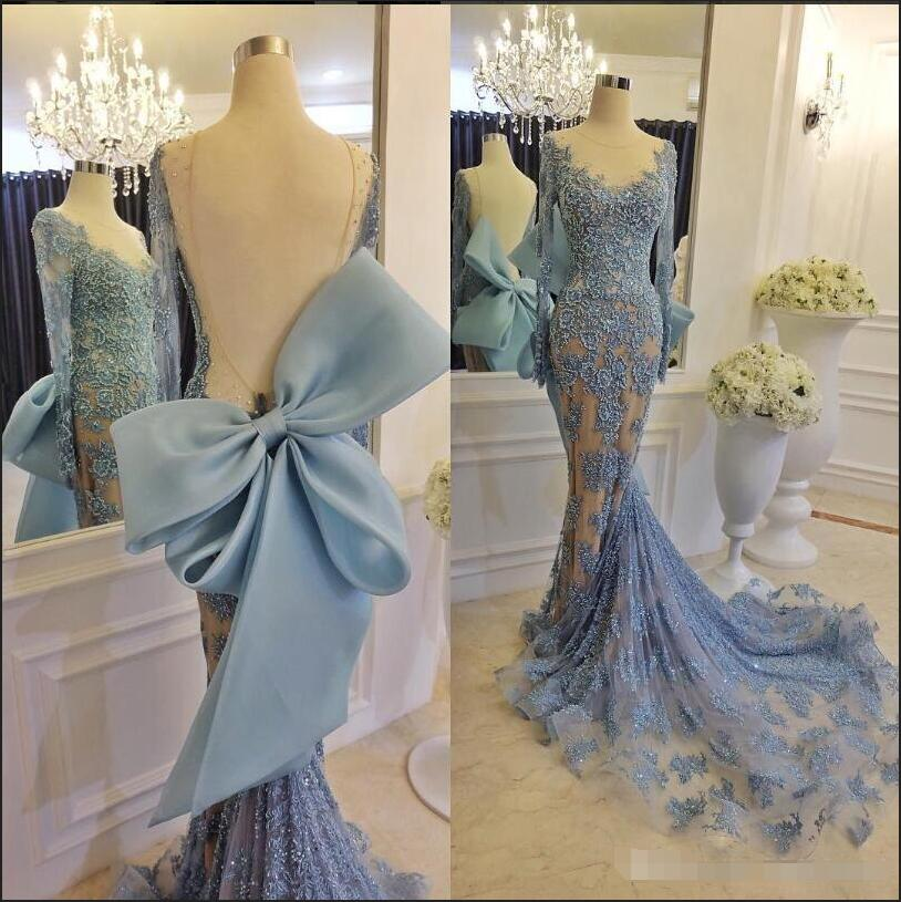 6970fde285 XP68 Luxury Long Applique Sequins Prom Gown With Elegant Sheer Scoop Neck  Long Sleeve Open Back Evening Dresses 2017 New