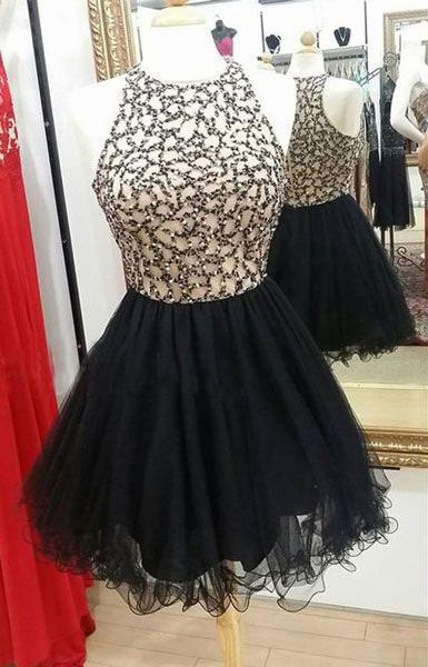 2ac5fa6965 Black Tulle Skirt Beaded Top Homecoming Dresses,Short Black Prom  Dresses,PD2463