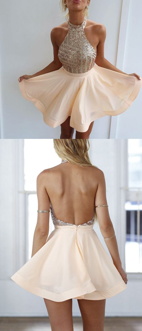 Shortmini Backless Halter Homecoming Dresses Prom Dresses With Gold