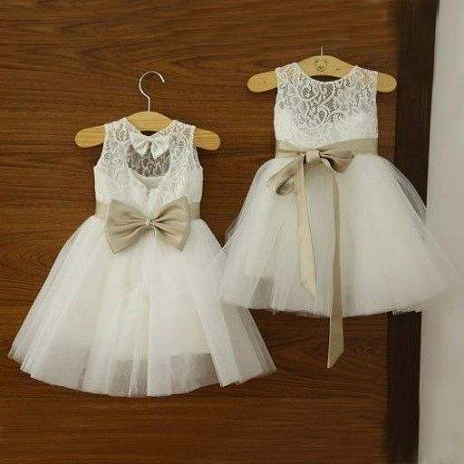 95a80f9b8 Cute White Lace Flower Girl Dress with Champagne Sash · dreamdressy ...