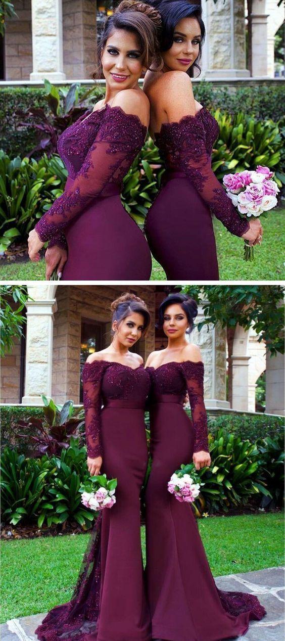 60fbbfd157ef ... Long Sleeve Burgundy Bridesmaid Dresses, Sexy Mermaid Long Lace  Bridesmaid/prom Dress, Off ...