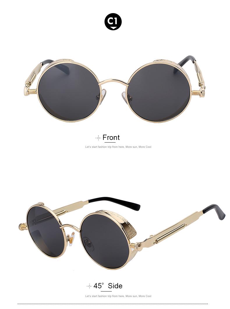 4abb82871e87 Round Metal Sunglasses Steampunk (Gold Frame-Black Lens) Men Women Fashion Glasses  Brand Designer Retro Vintage Sunglasses UV400 on Storenvy