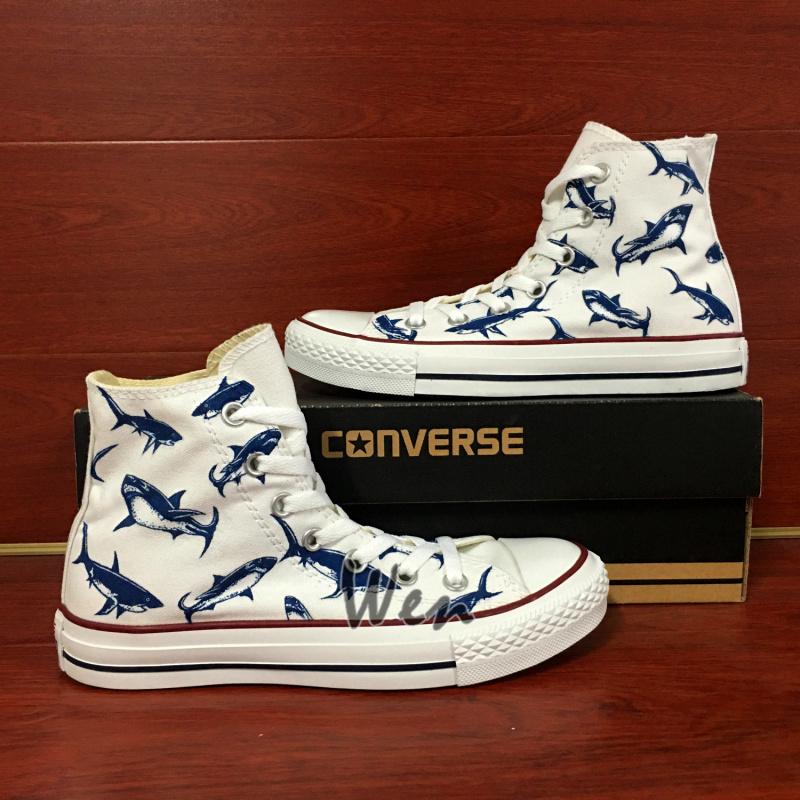 ba5e9dd760c0c Sharks Original Design Hand Painted Shoes Custom White Converse All Star  High Classic Skateboarding Shoes Men Women's Sneakers