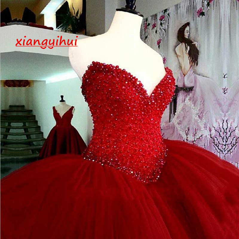 2200c73d7a6 Luxury Heavy Beading Red Quinceanera Dresses Long Puffy Ball Gown Crystal  Sweetheart Tulle Vestidos De 15 Prom Dress For Girls on Storenvy