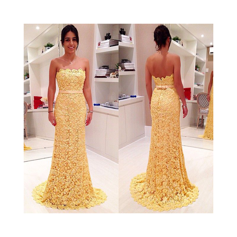 bef6e02169 Yellow Strapless Full Lace Floor Length Mermaid Prom Dress With Ribbon