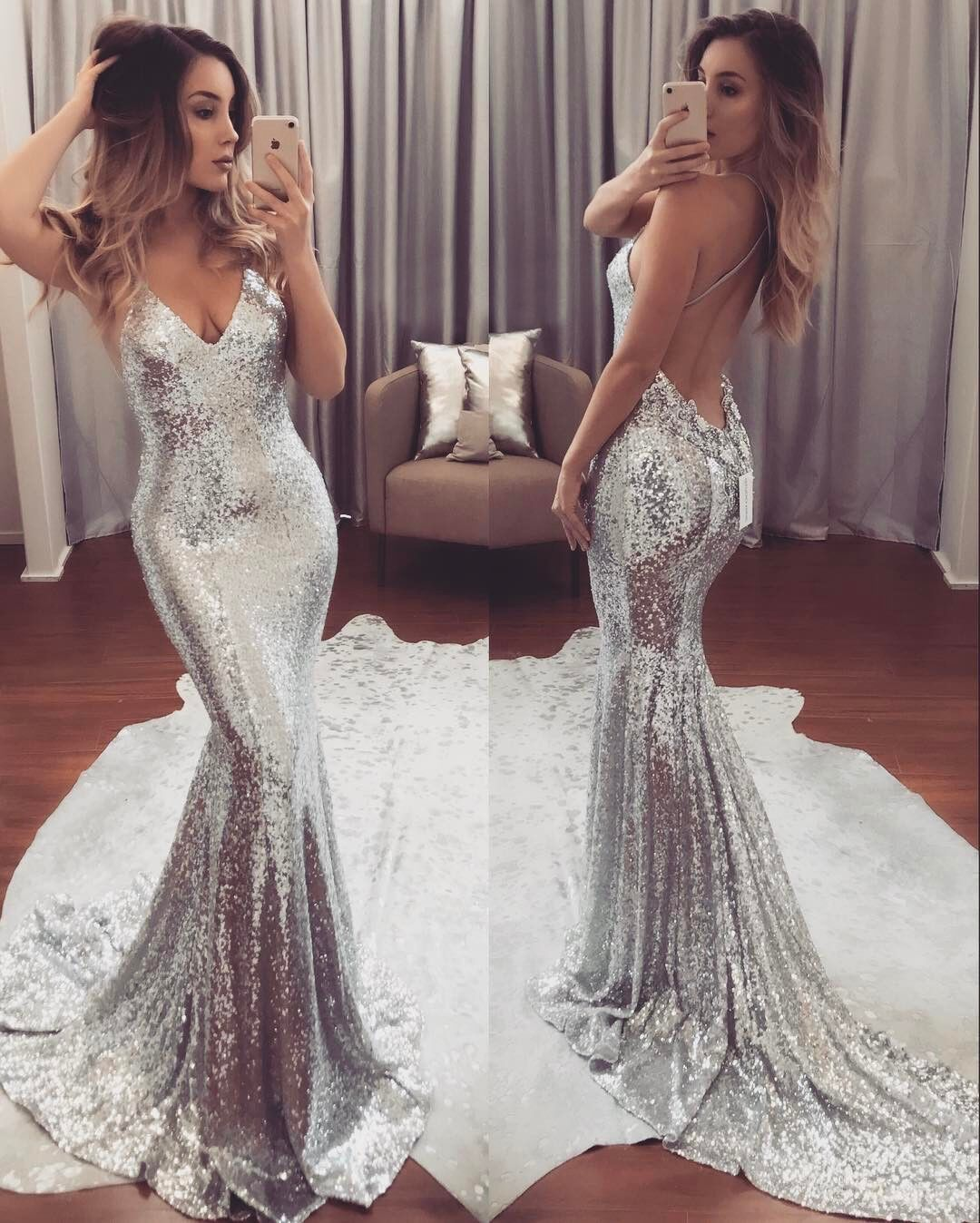 New Fashion Silver Sequin V Neck Prom Dresssexy Backless Mermaid Formal Gown: Silver V Neck Wedding Dress At Websimilar.org
