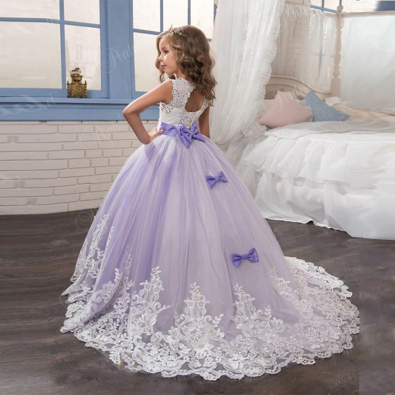 653c97d0cd689 Flower Girl Dress, Ivory Purple Flower Girl Dress, Girls First Communion  Dress, Junior