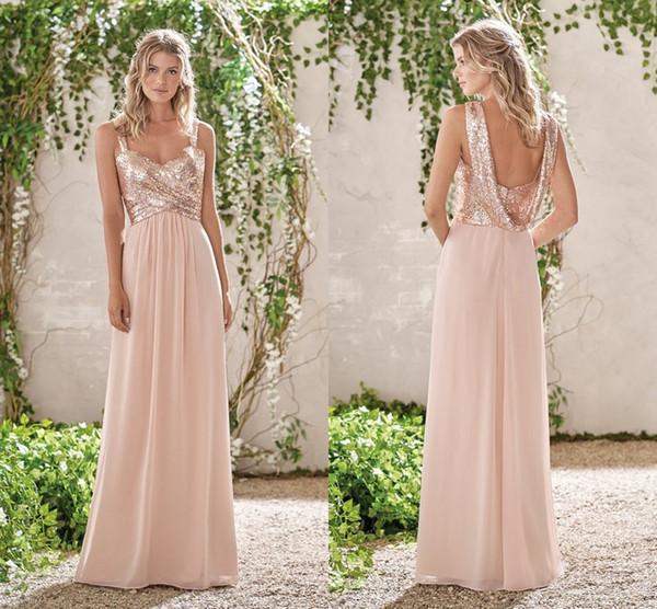 694c6793628 Elegant A-line Rose Gold Long Bridesmaid Dress Wedding Party Dress on  Storenvy
