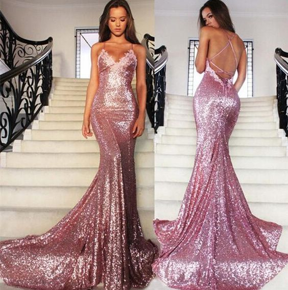 F134 New Gold Sequins Evening Gowns Hot Sexy Backless Prom Dresses