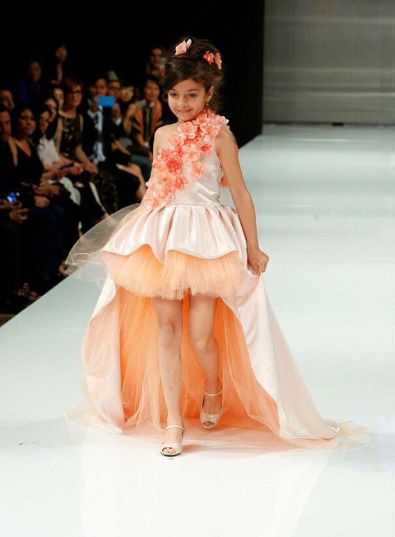 New Peach High Low Flower Girl Dresses Satin Flowers Girl Pageant ...