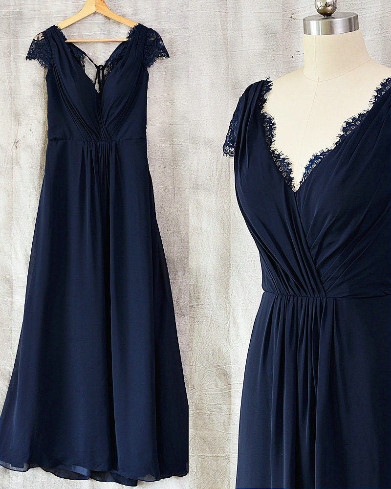 Vintage Navy Blue Lace Bridesmaid Dress · Sancta Sophia