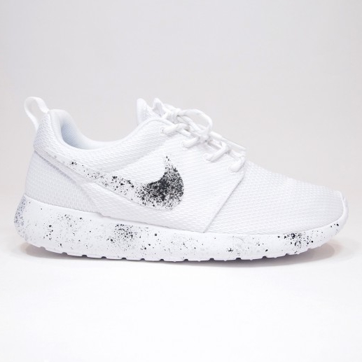 4203637853e All White Triple Platinum Black Speckled Nike Roshe Run on Storenvy