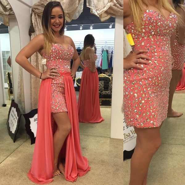 Sexy Two Piece Prom Dresses Removable Skirt Sweetheart Crystal