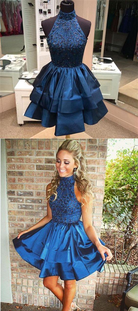 723bca947cb Fashion A-line High Neck Navy Blue Homecoming Dress LP422 ...