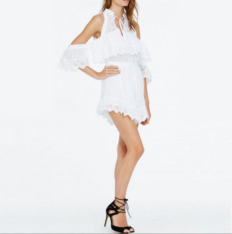 5c24ccc158 ZX38 Women s Suit Fashionable White Sleeveless Romper with Lace on ...