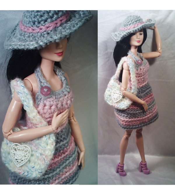 Barbie Nail Art Games Free Download: Pink N' Gray Striped Sun Dress With White/rainbow Tote Bag