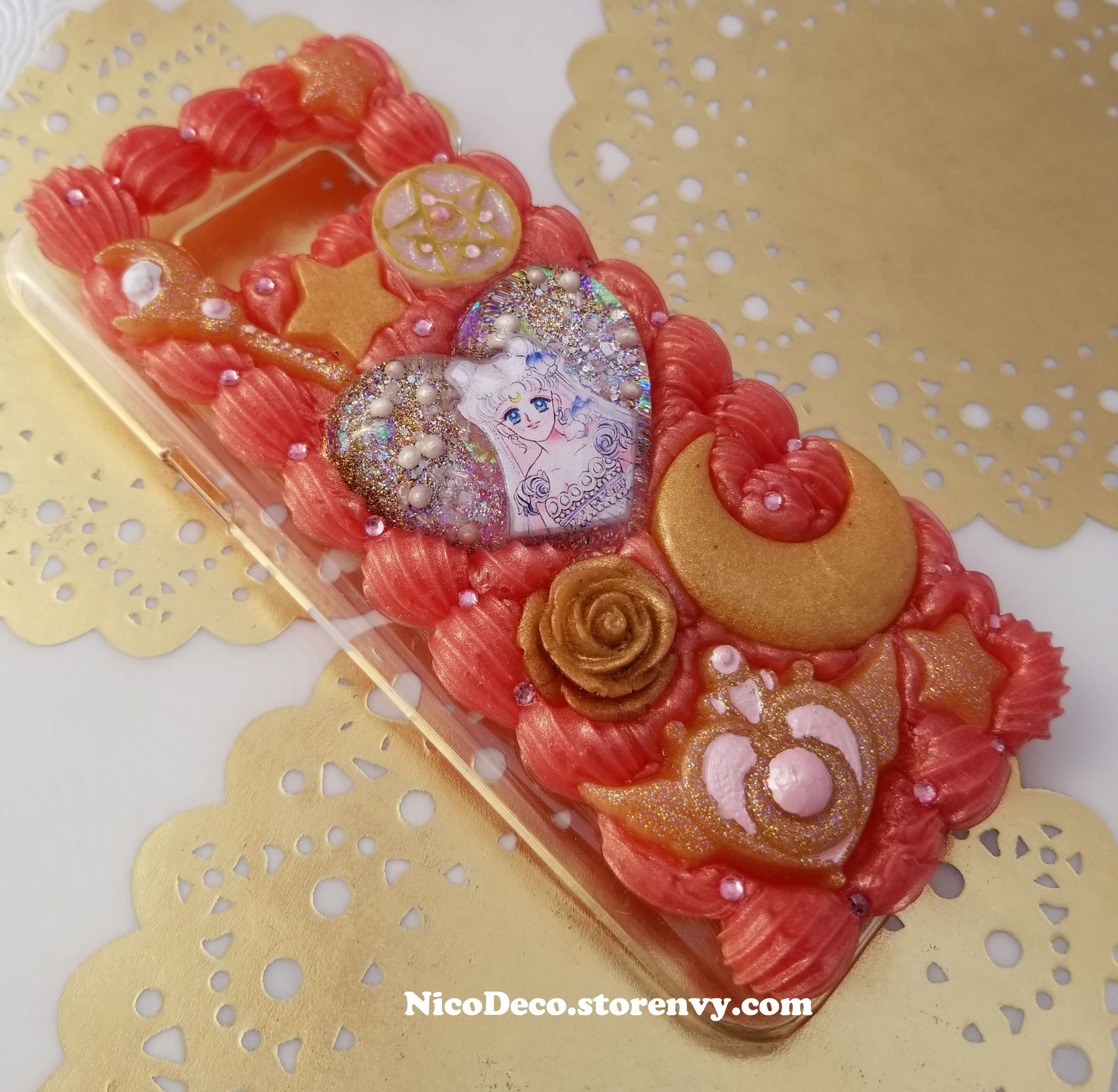 lowest price 1fdfb a68ad Sailor Moon Princess Serenity rose gold decoden whipped cream cell phone  case for Samsung Galaxy s8 PLUS s8+ from Nico Deco
