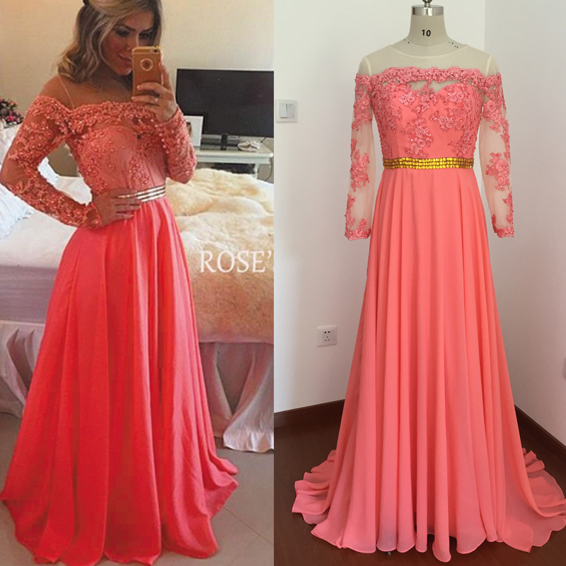 Real Picture Prom Dresses 2017 Coral Chiffon Evening Dresses Lace