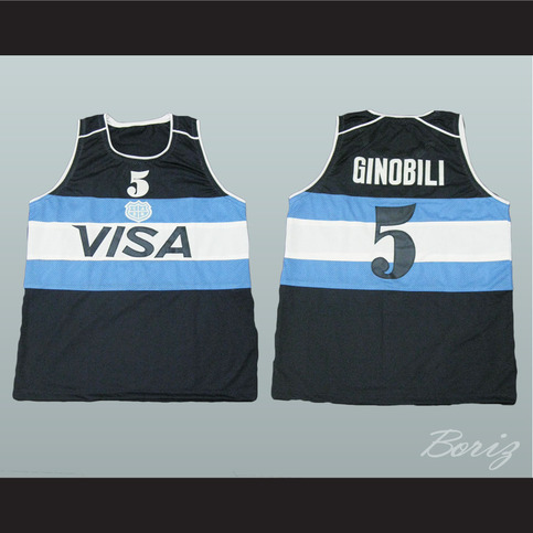 688dcd781f ... buy manu ginóbili argentina basketball jersey black 5 stitch sewn all  sizes new acbestseller online store